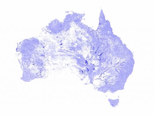 Kaart met de aanwezigheid van water in Australië